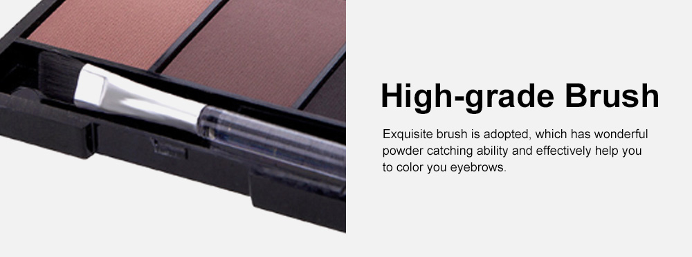 Delicate Fine Three Colors Brow Powder with Brush Mirror Enduring Easy Coloring Eyebrow Makeup Tool Accessories 5