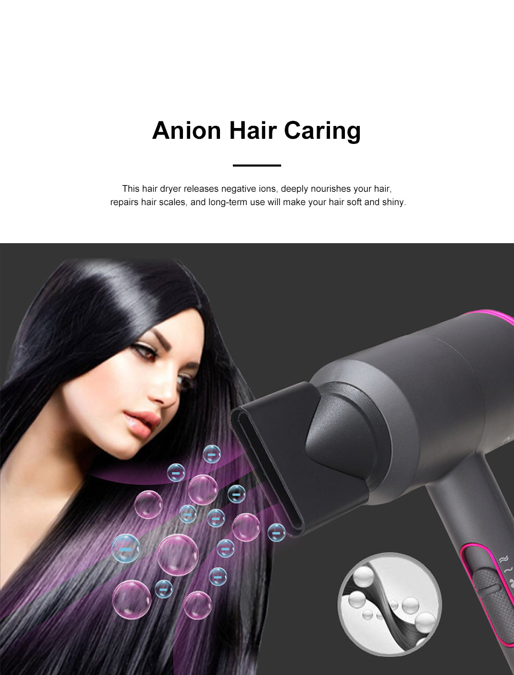 High-Power Household Anion Care Cold Hot Wind Hair Dryer Nonradiative Hair Shaping Modeling Style Tool 2