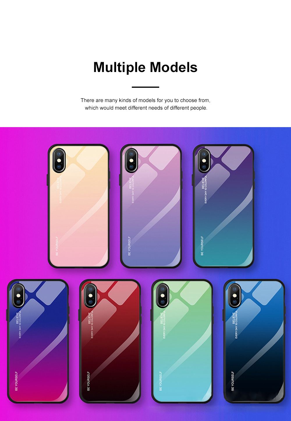 Stylish Minimalist Gradient Color Glass Phone Case Drop-Protection Creative Stained Glass Shell for iPhone XS MAX, XR, X, 7 Plug, 8 Plug, 6 6s Plug 1