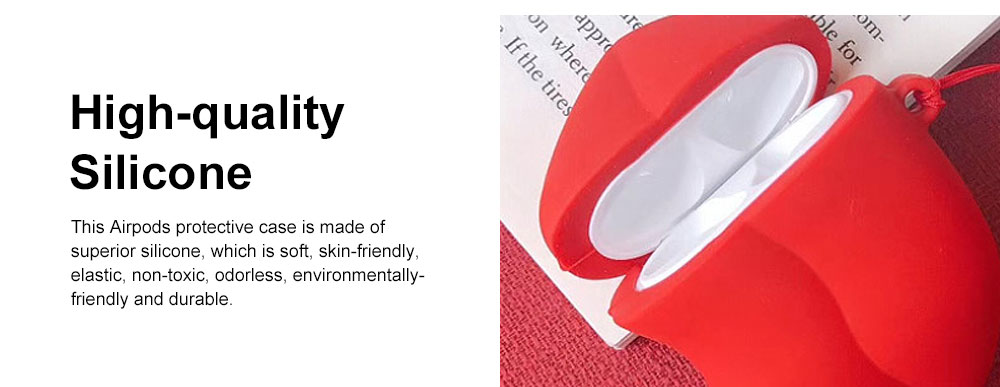 Cute Stylish Red Lip Model Ultra-soft Elastic Silicone Airpods Pouch Apple Bluetooth Earphone Protective Case with Hanging Ring 4