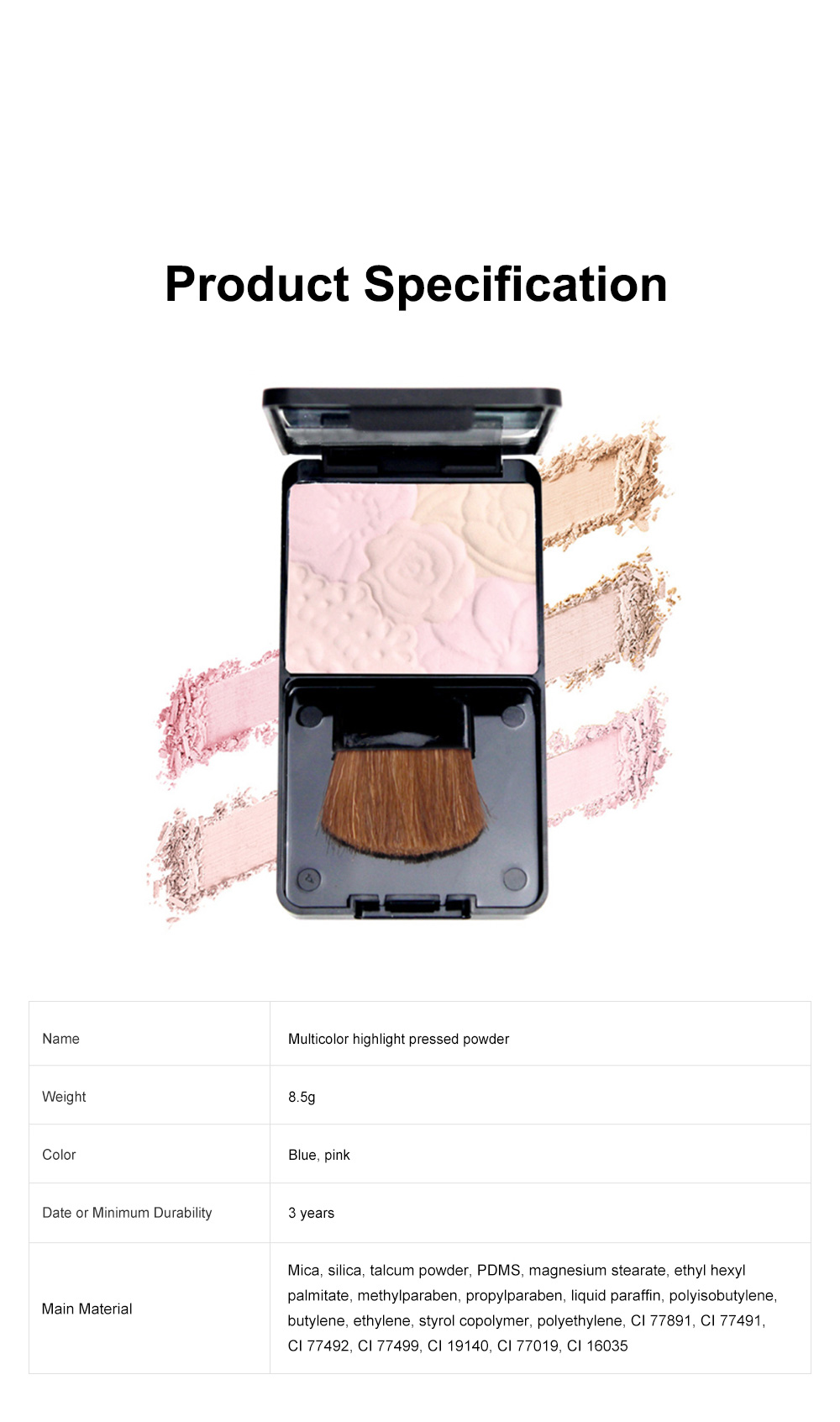 Fine Exquisite Flower Model Multicolor Highlight Pressed Powder Skin Brighten Shading Powder Cosmetic Accessories 6