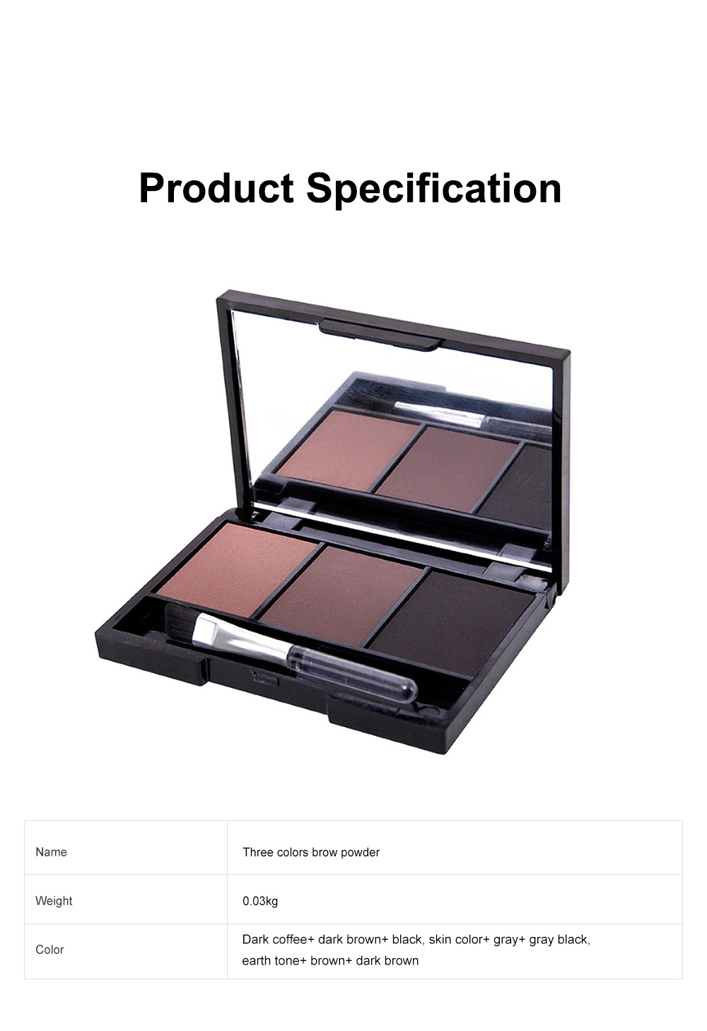 Delicate Fine Three Colors Brow Powder with Brush Mirror Enduring Easy Coloring Eyebrow Makeup Tool Accessories 6
