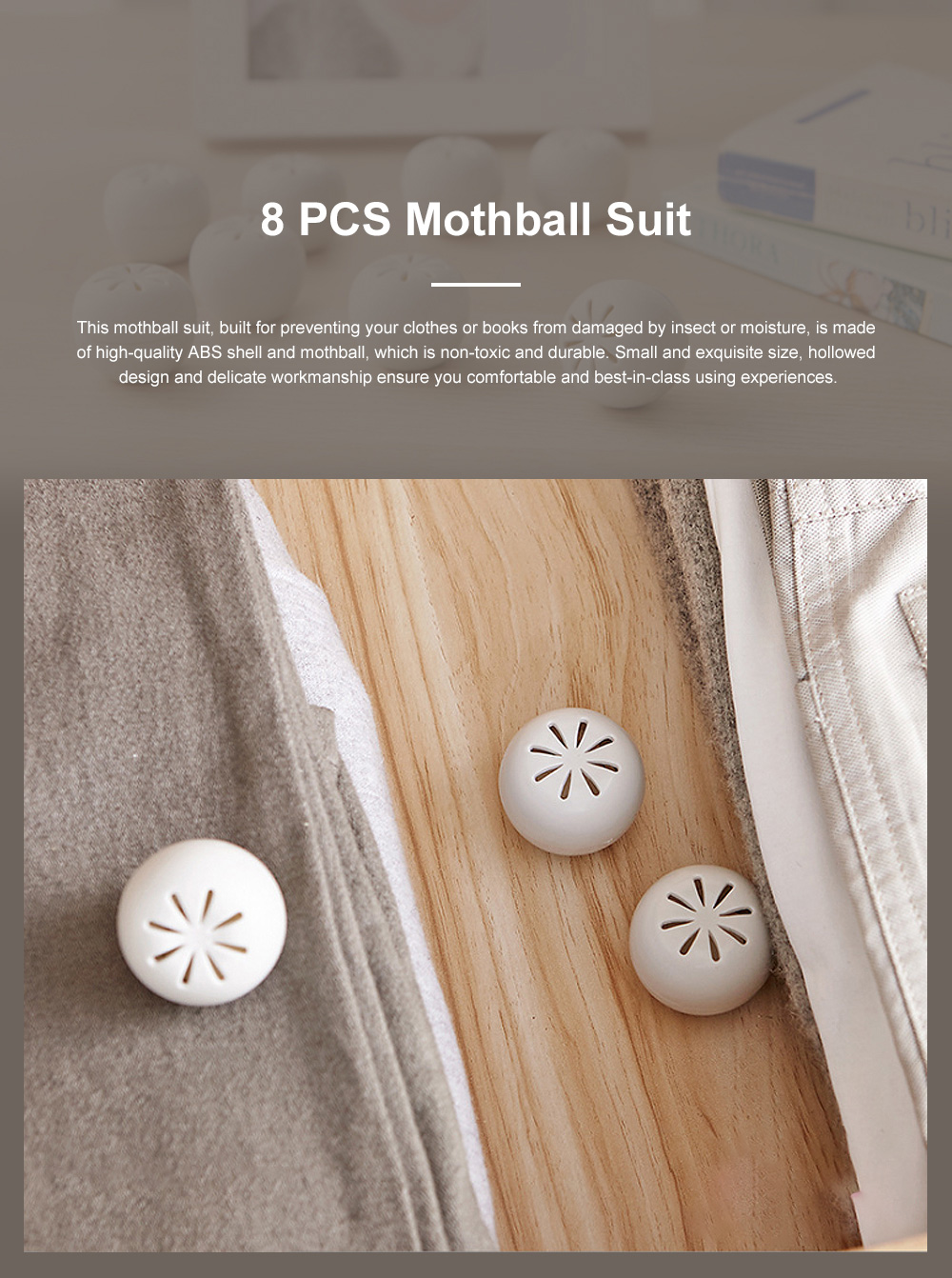 Small Exquisite Closet Wardrobe Bookcase Room Insect Prevention Mothproof Moisture-proof 8PCS Mothball Camphor Ball Set 0