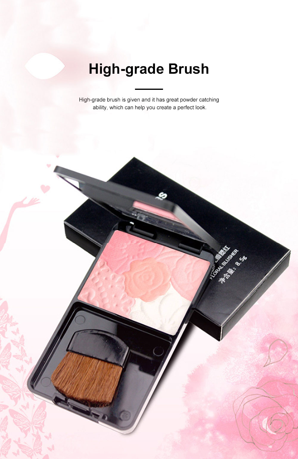 Exquisite Fancy Carved Flower Model Multicolor Blusher Shading Powder Blush with Cosmetic Brush Make-up Product 3