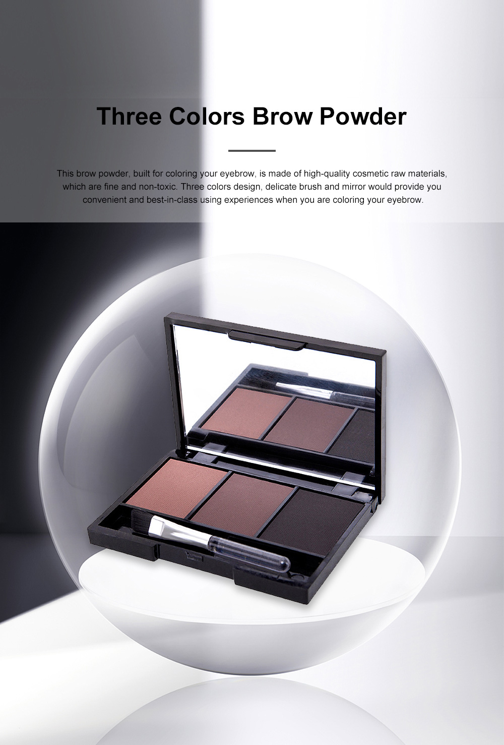 Delicate Fine Three Colors Brow Powder with Brush Mirror Enduring Easy Coloring Eyebrow Makeup Tool Accessories 0