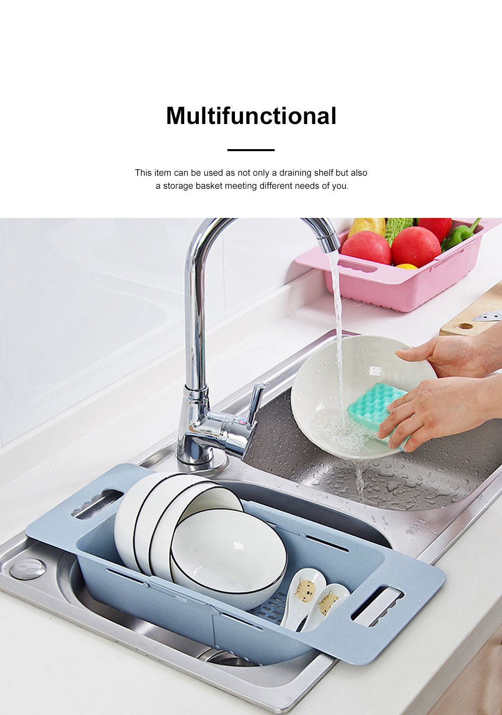 Functional Environmentally-friendly Wheat Straw Stretchable Vegetable Fruit Water Sink Draining Shelf Basket Storage Rack 2