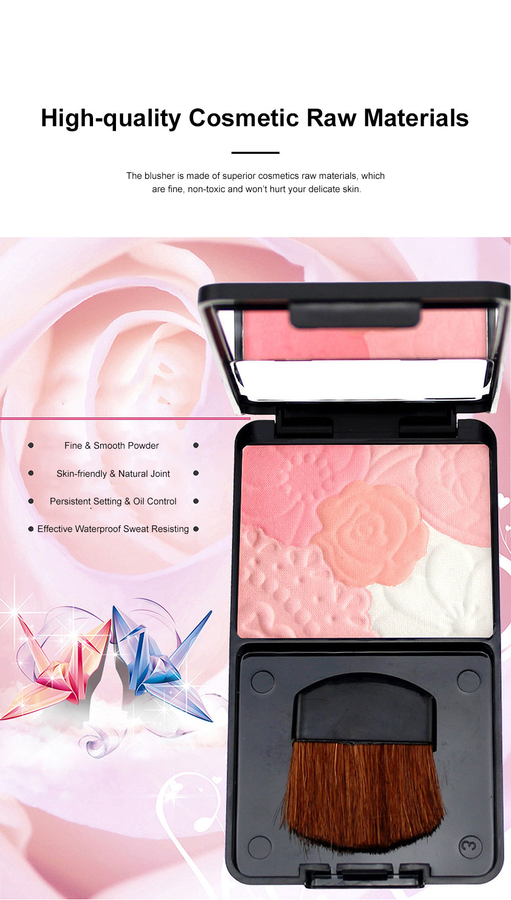 Exquisite Fancy Carved Flower Model Multicolor Blusher Shading Powder Blush with Cosmetic Brush Make-up Product 4
