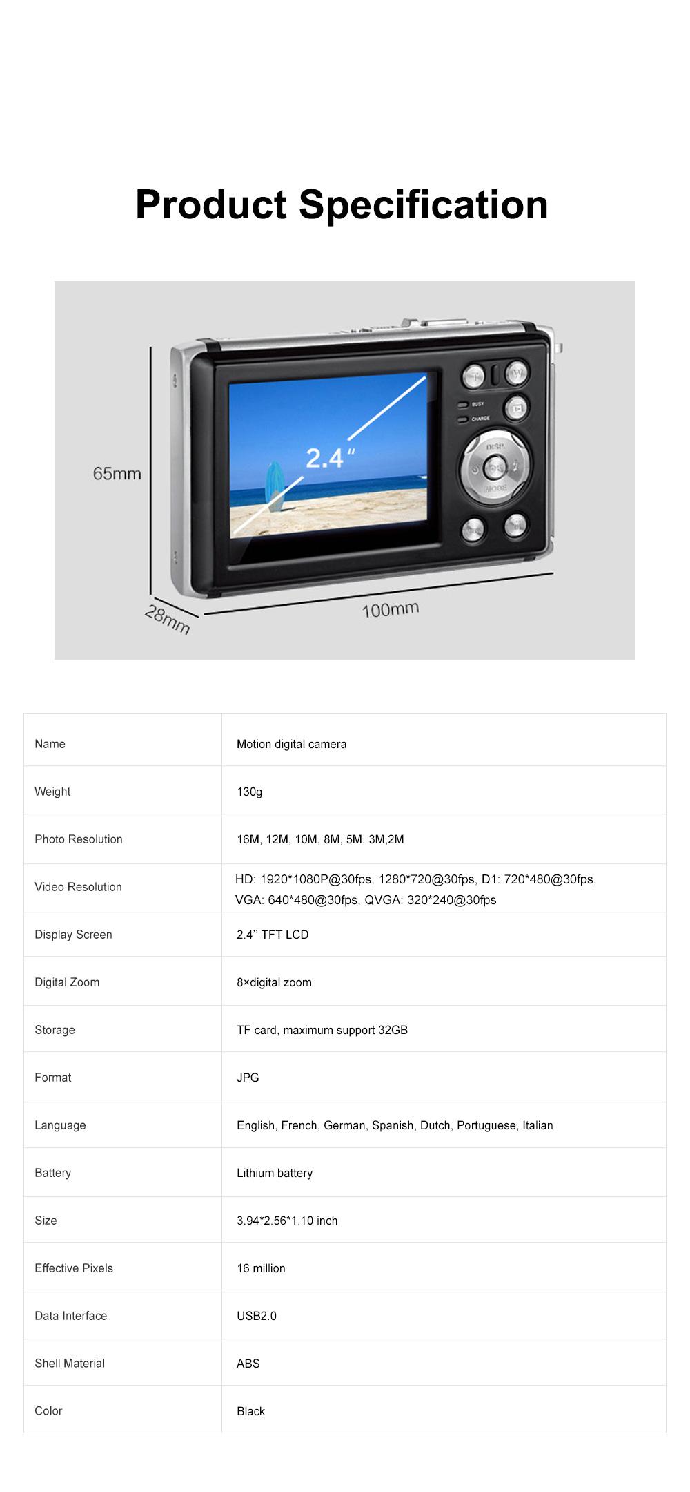 Portable Minimalist HD High Pixel Waterproof Digital Camera Sport Motion Cam with 2.4 Inch Display Screen 6