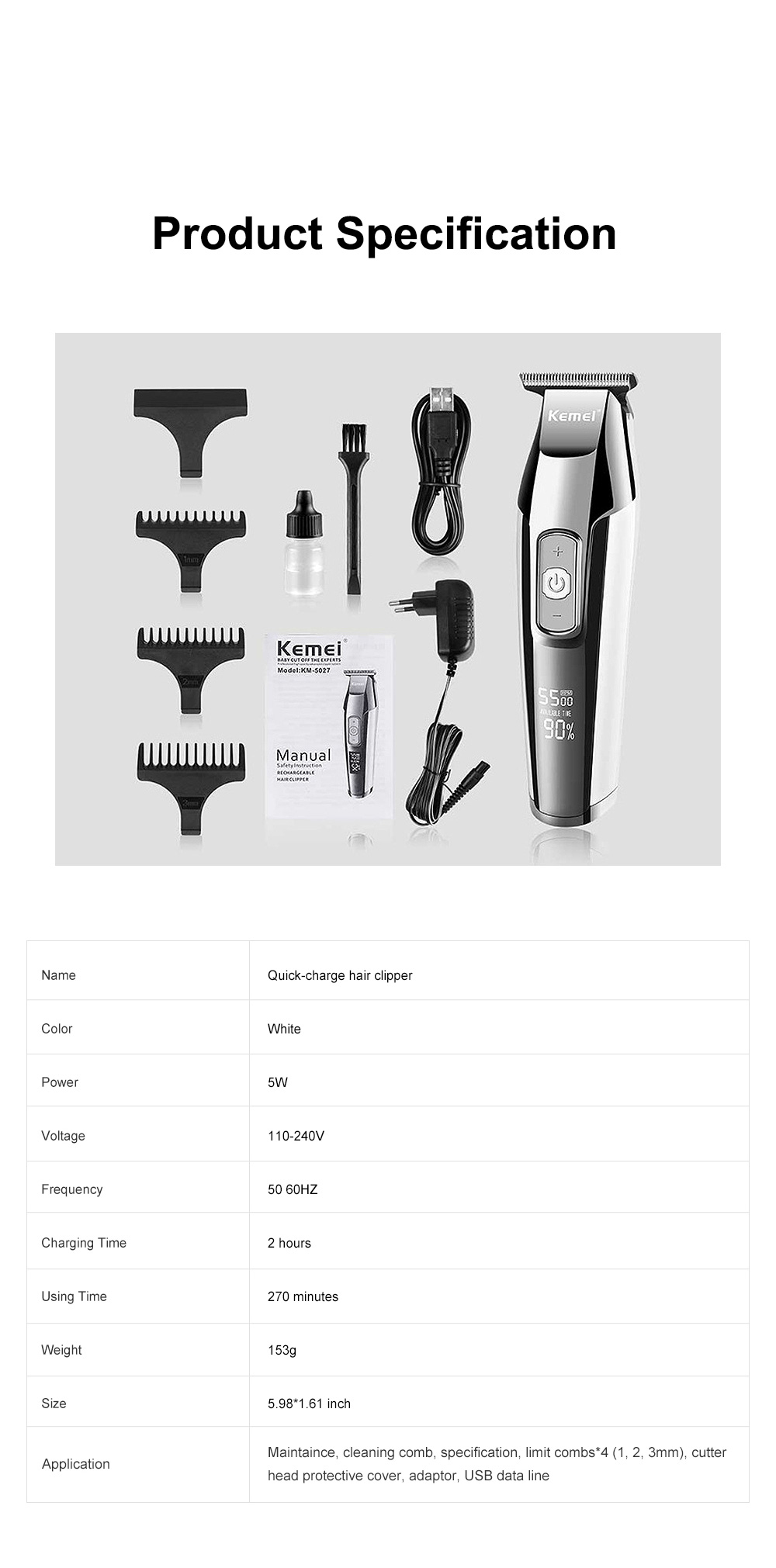 Handy Functional Quick-charge Hair Clipper Graver Braehead Hair Cutting Tool Household Trimming Machine with Liquid Crystal Display Screen 7