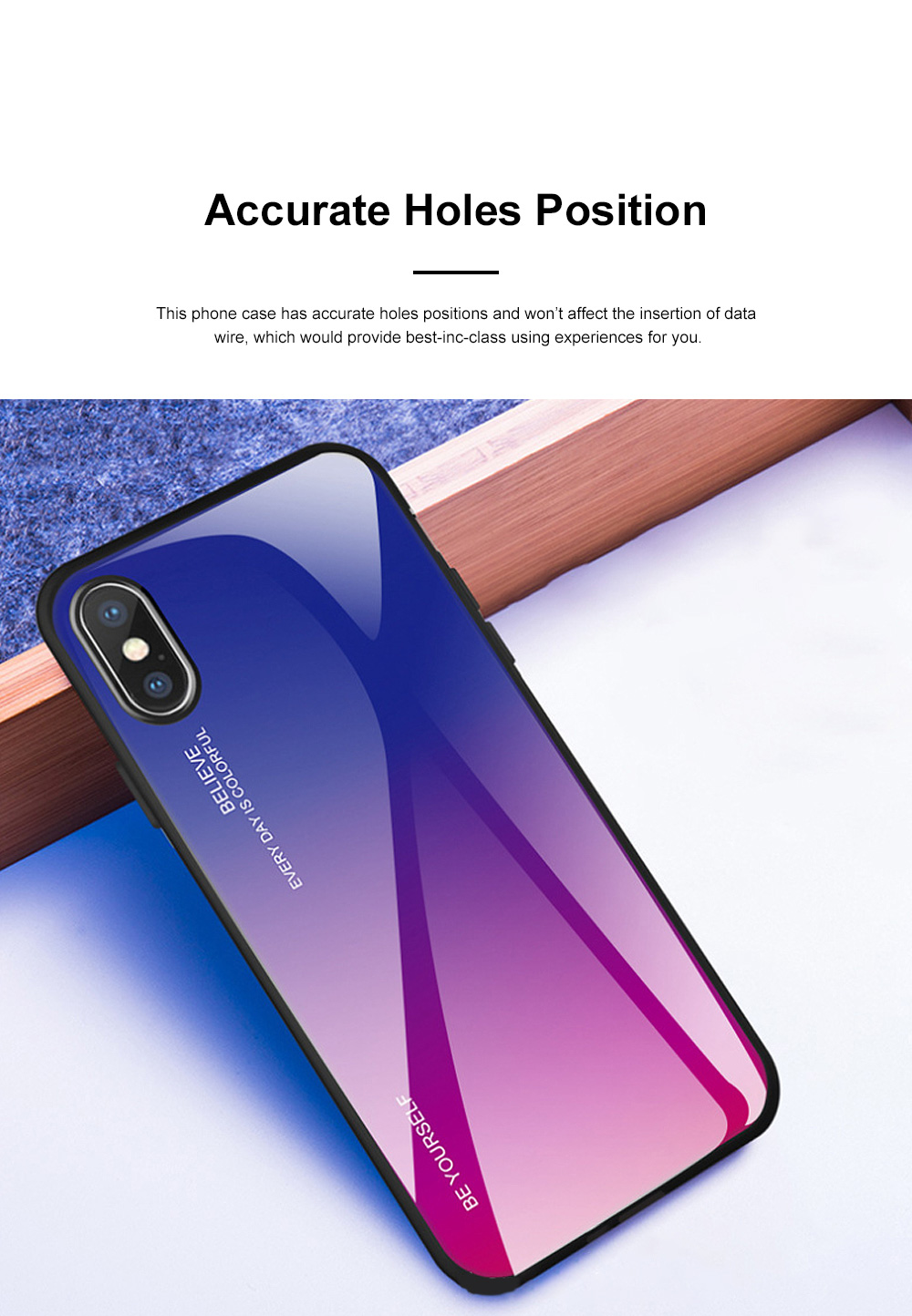 Stylish Minimalist Gradient Color Glass Phone Case Drop-Protection Creative Stained Glass Shell for iPhone XS MAX, XR, X, 7 Plug, 8 Plug, 6 6s Plug 3