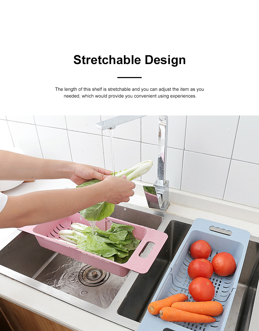 Functional Environmentally-friendly Wheat Straw Stretchable Vegetable Fruit Water Sink Draining Shelf Basket Storage Rack 1