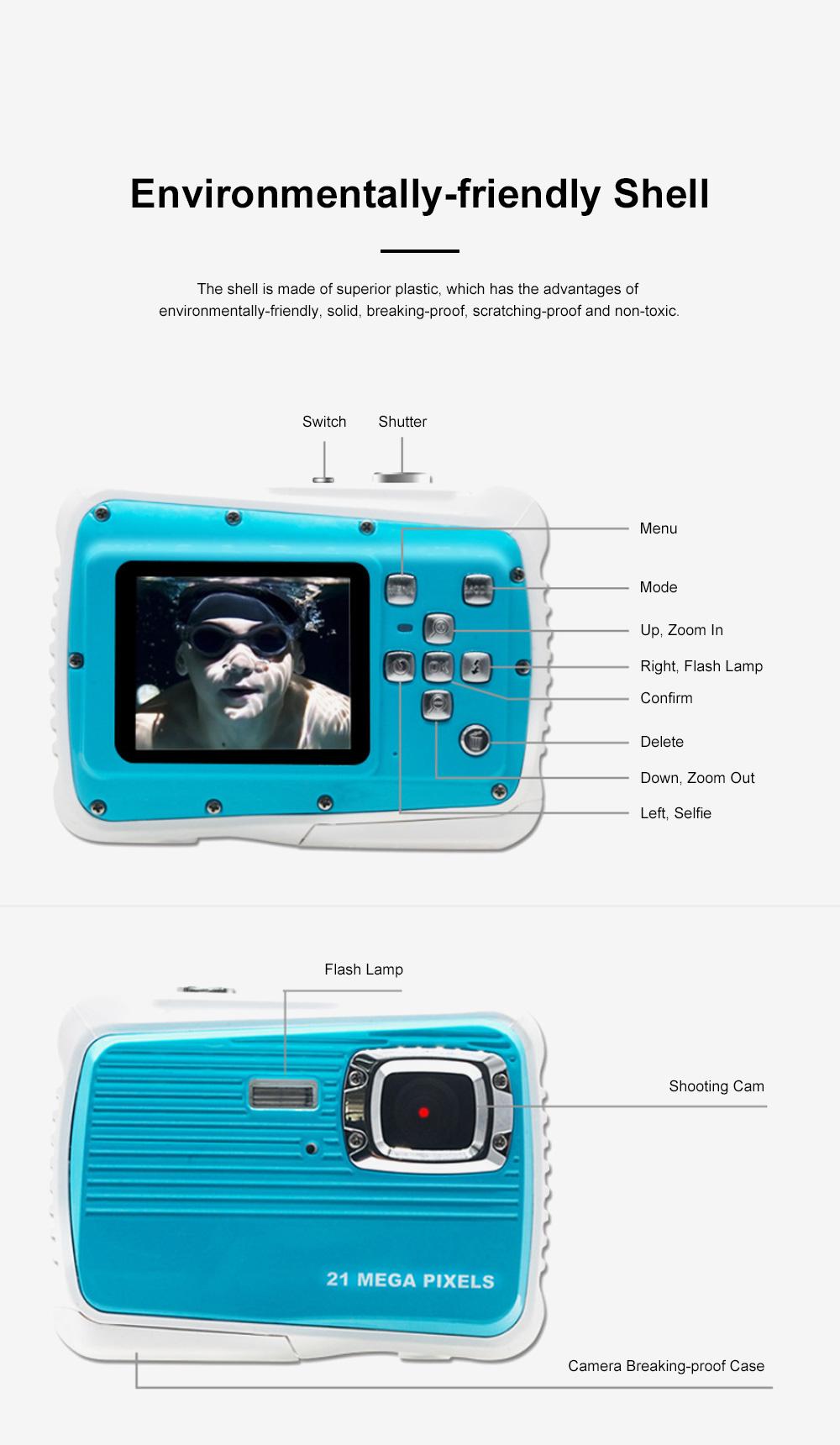 Delicate Portable Breaking-proof 3M Waterproof Children HD Digital Camera 21 Million Pixels Cam for Kids 4