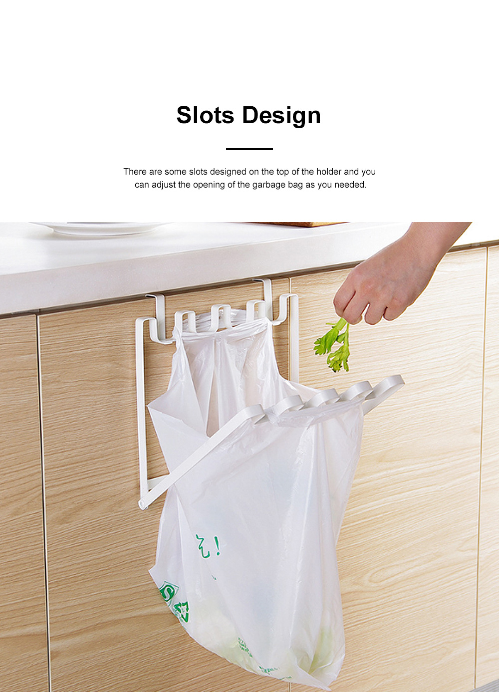 Minimalist Door Back Hanging Style Plastic Garbage Bag Holder Supporter Household Kitchen Accessories Tool 2