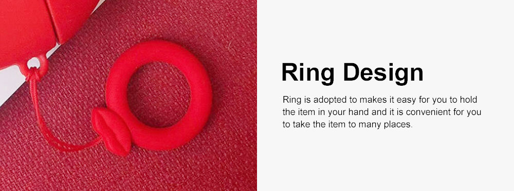 Cute Stylish Red Lip Model Ultra-soft Elastic Silicone Airpods Pouch Apple Bluetooth Earphone Protective Case with Hanging Ring 5