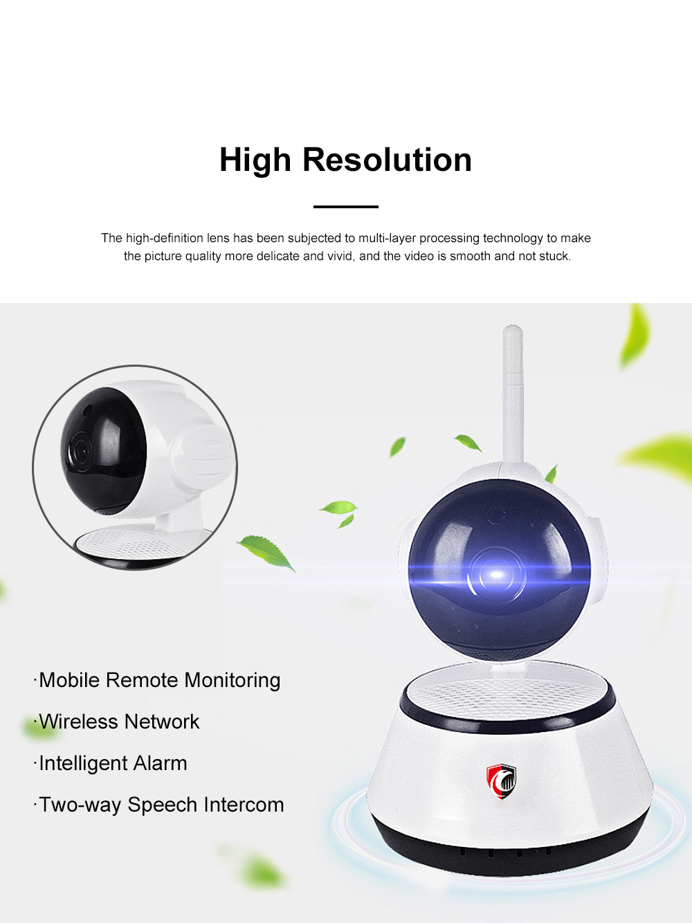 Household Security IP Cam Rotatable Wireless Intelligent Monitor WIFI Camera with Infrared Night Vision Motion Detection 1