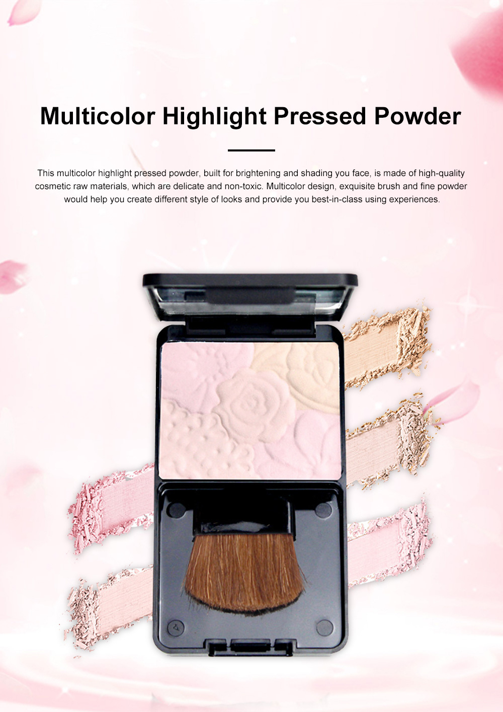 Fine Exquisite Flower Model Multicolor Highlight Pressed Powder Skin Brighten Shading Powder Cosmetic Accessories 0