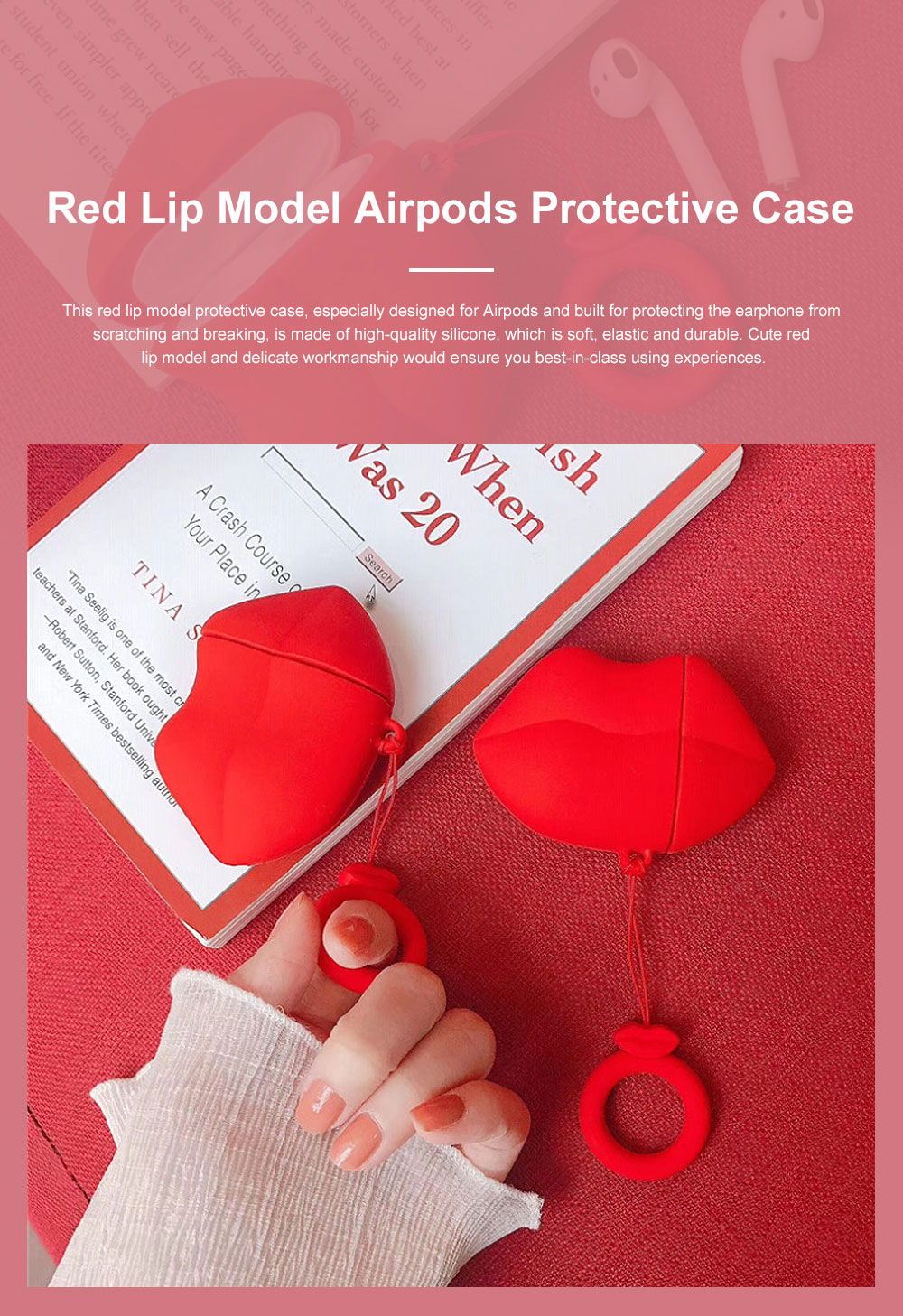 Cute Stylish Red Lip Model Ultra-soft Elastic Silicone Airpods Pouch Apple Bluetooth Earphone Protective Case with Hanging Ring 0