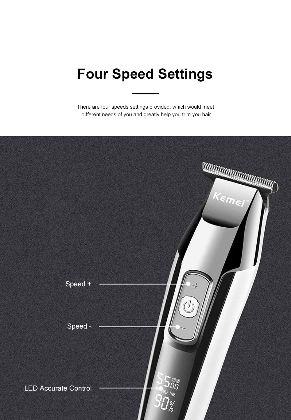 Handy Functional Quick-charge Hair Clipper Graver Braehead Hair Cutting Tool Household Trimming Machine with Liquid Crystal Display Screen 2