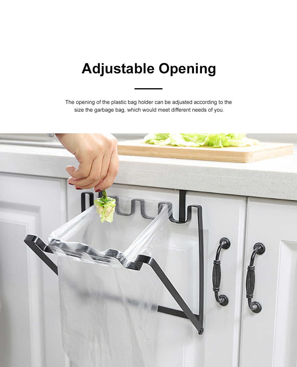 Minimalist Door Back Hanging Style Plastic Garbage Bag Holder Supporter Household Kitchen Accessories Tool 3