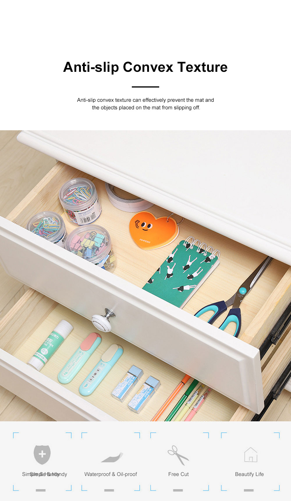 Simple Transparent Cuttable Tailorable Waterproof Moisture-proof Dust-proof Drawer Wardrobe Pad Oil-proof Cabinet Mat 1