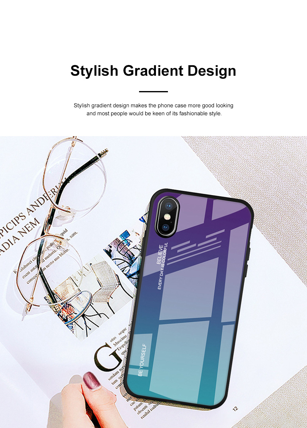 Stylish Minimalist Gradient Color Glass Phone Case Drop-Protection Creative Stained Glass Shell for iPhone XS MAX, XR, X, 7 Plug, 8 Plug, 6 6s Plug 4