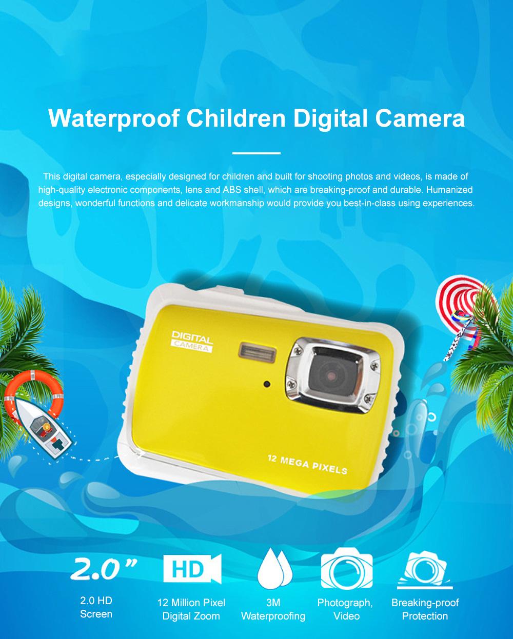 Cute Portable HD Waterproof Shock-proof 12 Million Pixels Zoom Digital Camera for Children 3M Waterproofing Cam 0