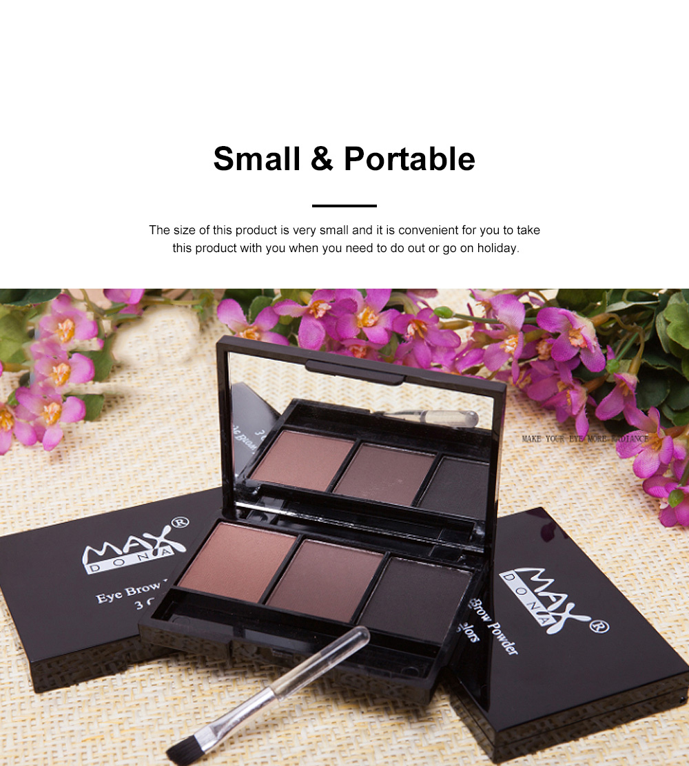 Delicate Fine Three Colors Brow Powder with Brush Mirror Enduring Easy Coloring Eyebrow Makeup Tool Accessories 3