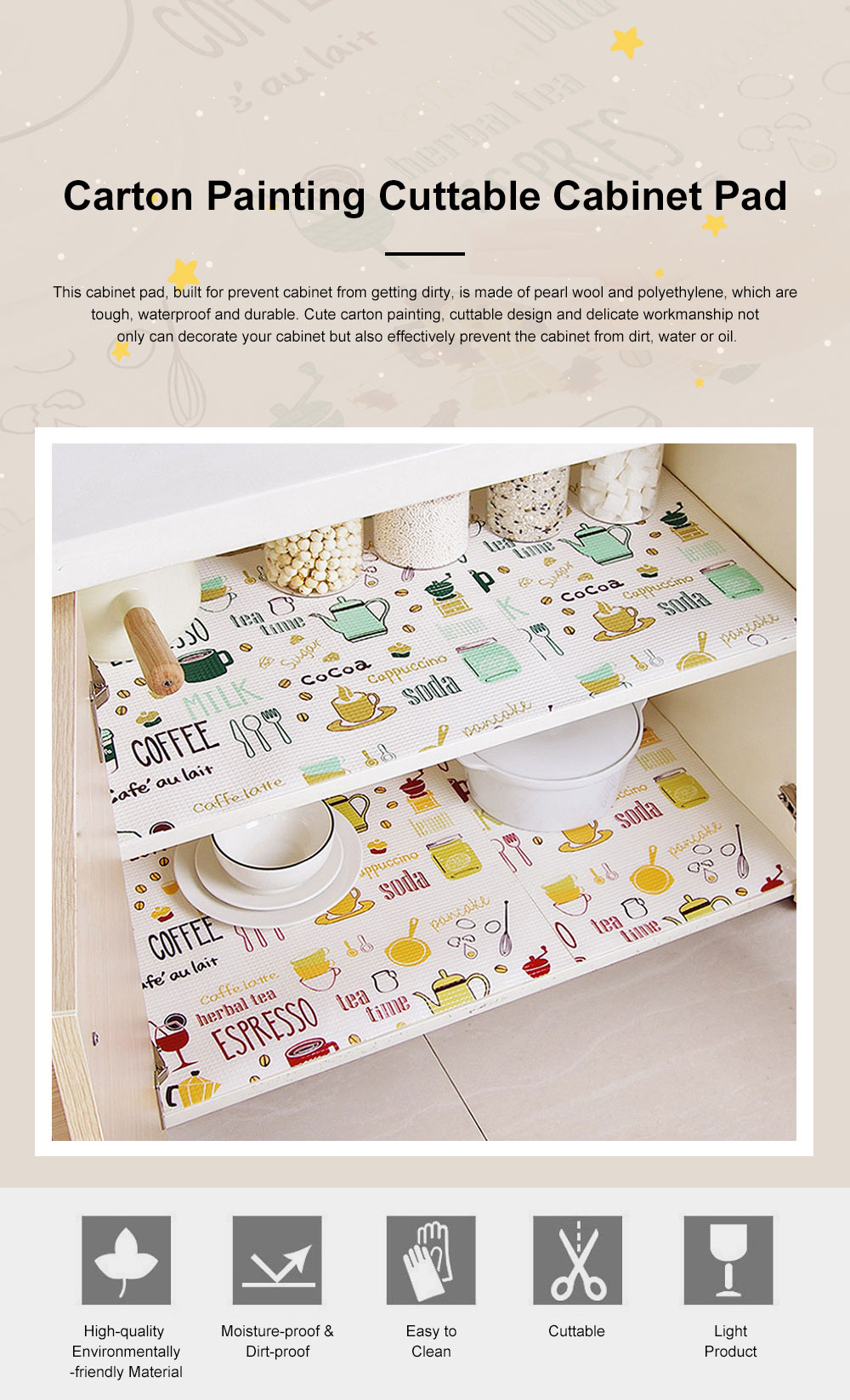 Cute Stylish Carton Painting Cuttable Waterproof Moisture-proof Oil-proof Drawer Wardrobe Closet Kitchen Cabinet Pad Mat 0
