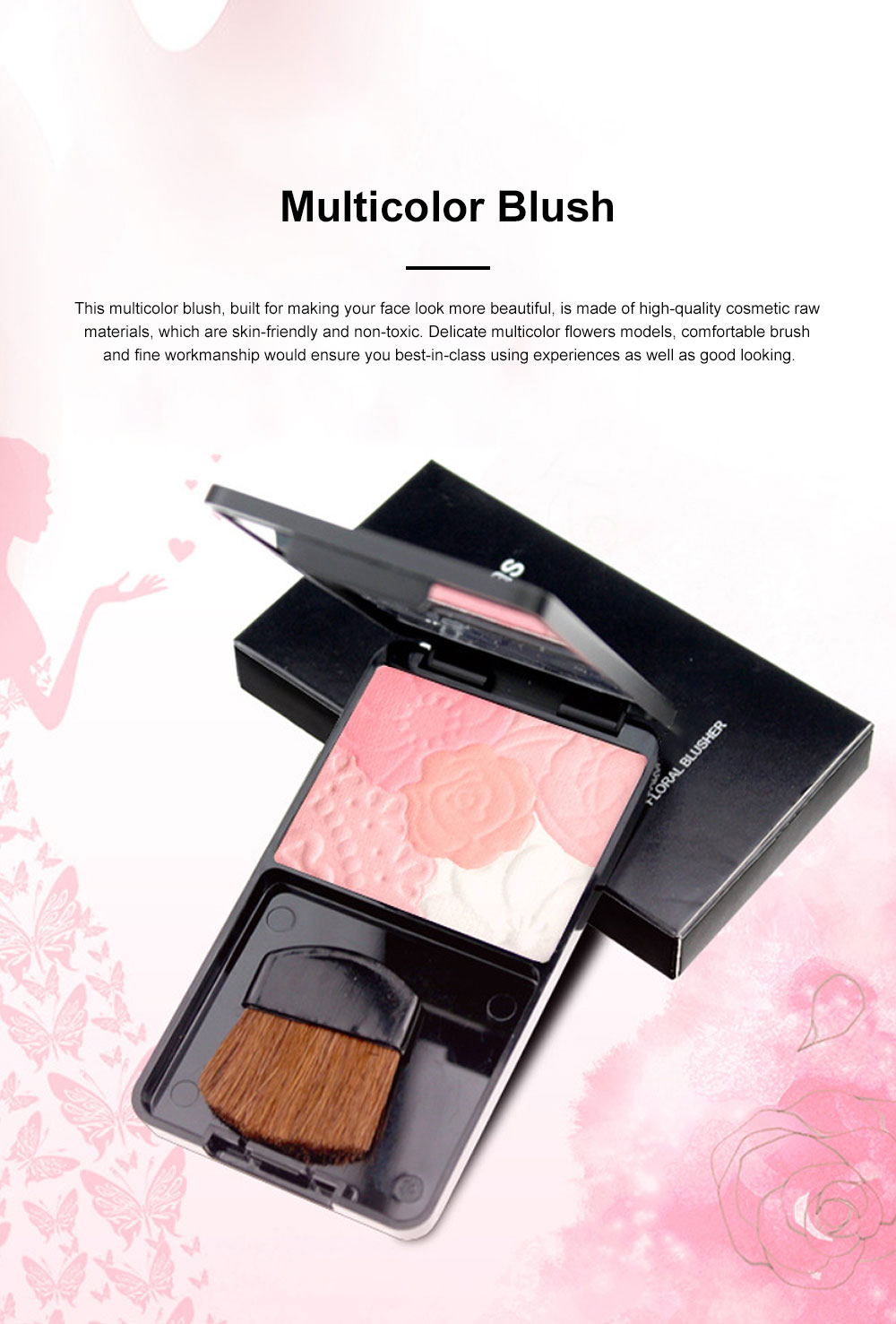 Exquisite Fancy Carved Flower Model Multicolor Blusher Shading Powder Blush with Cosmetic Brush Make-up Product 0