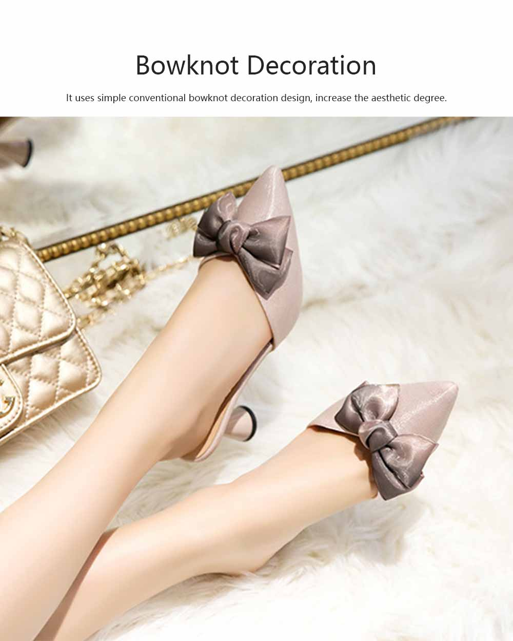 Bowknot High-heeled Sandals for Women Comfortable Breathable Non-slip Wear-resisting Wine Glass Shape High-heeled Slippers 4