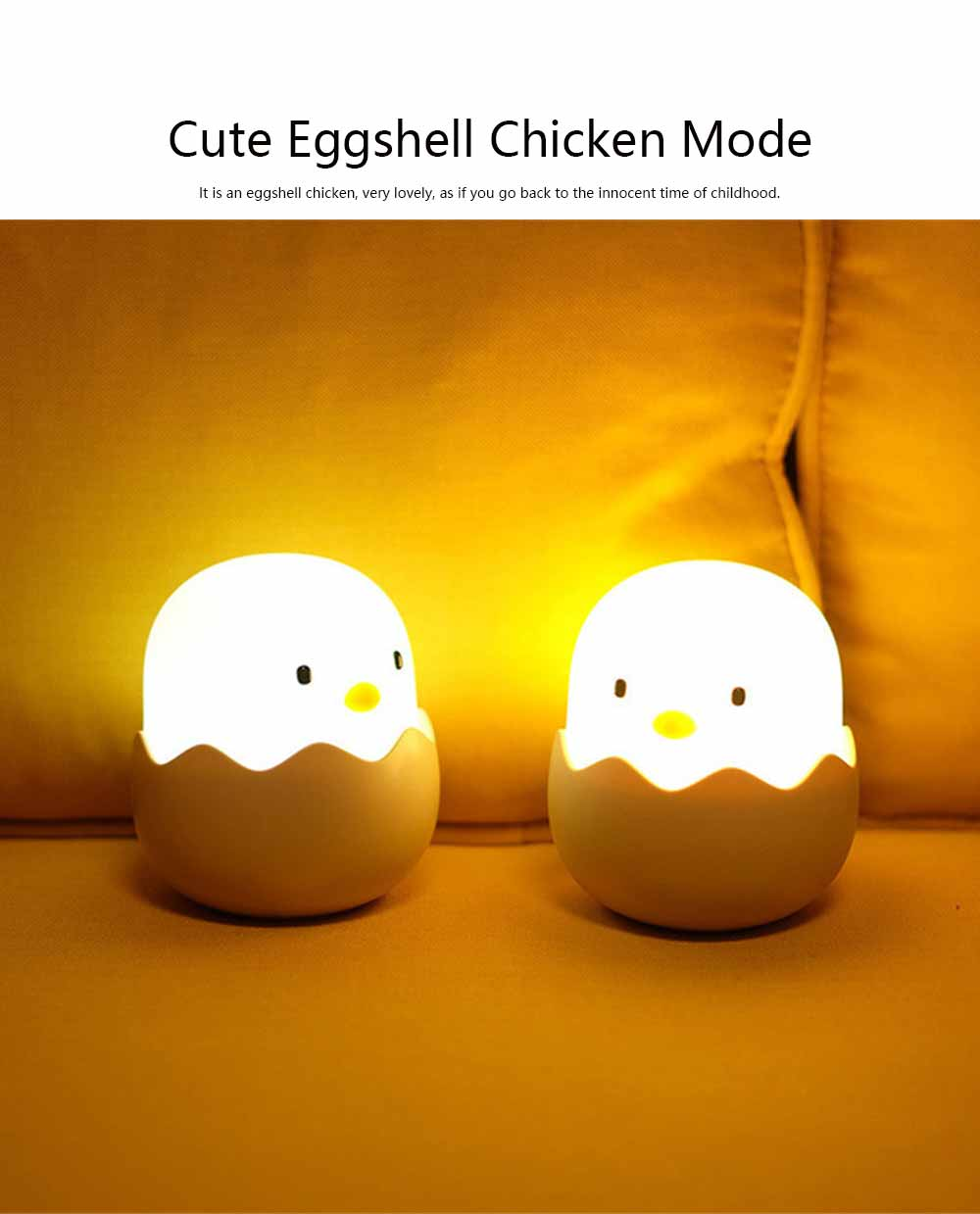 Eggshell Chicken Night Light Creative Chicken Bedside Light Baby Feeding Light Patting Lamp 1