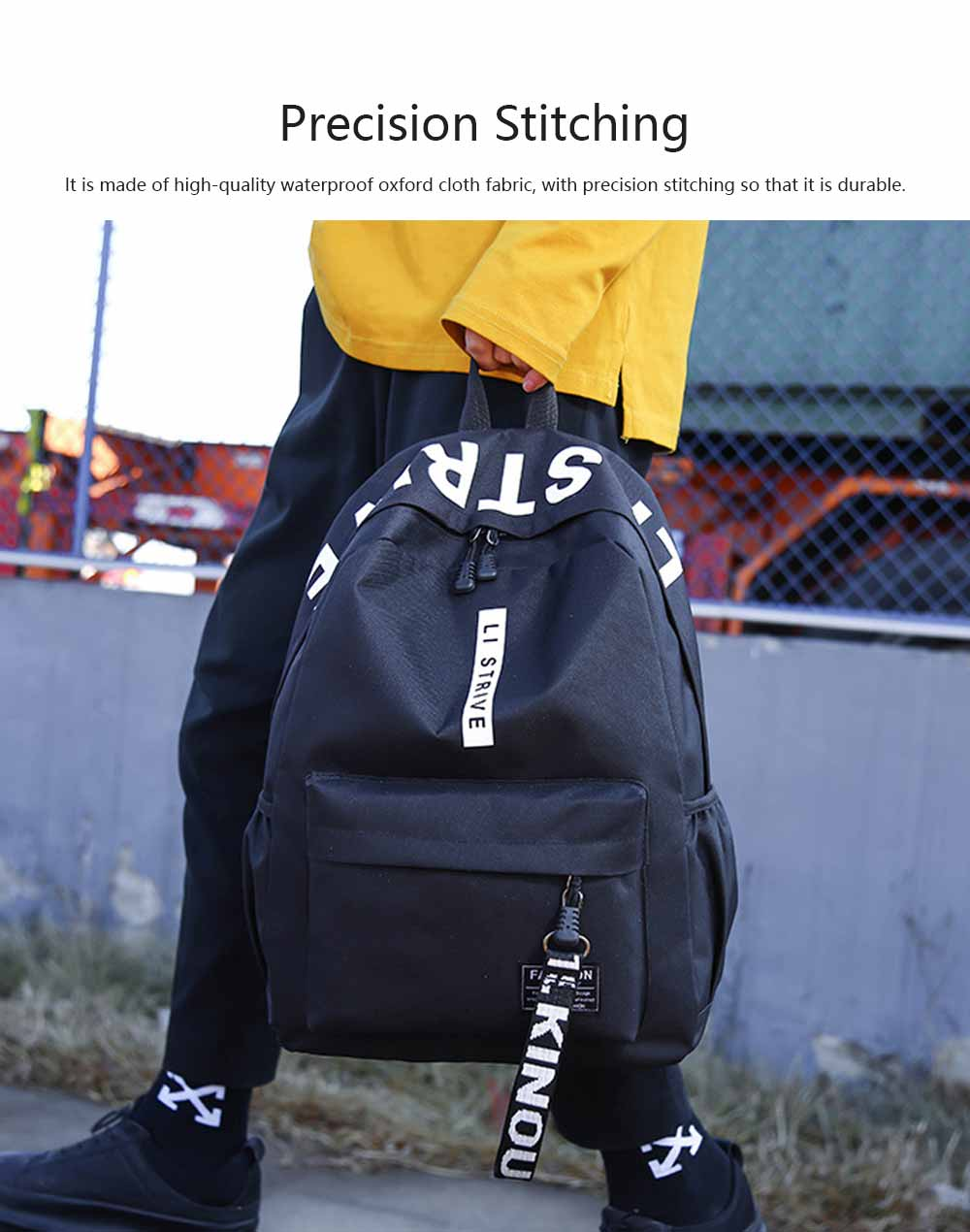 Preppy Style School Bag for Students Fashion Printing Smooth Zipper Adjustable Shoulder Strap Side Pockets Ribbon Backpack 3