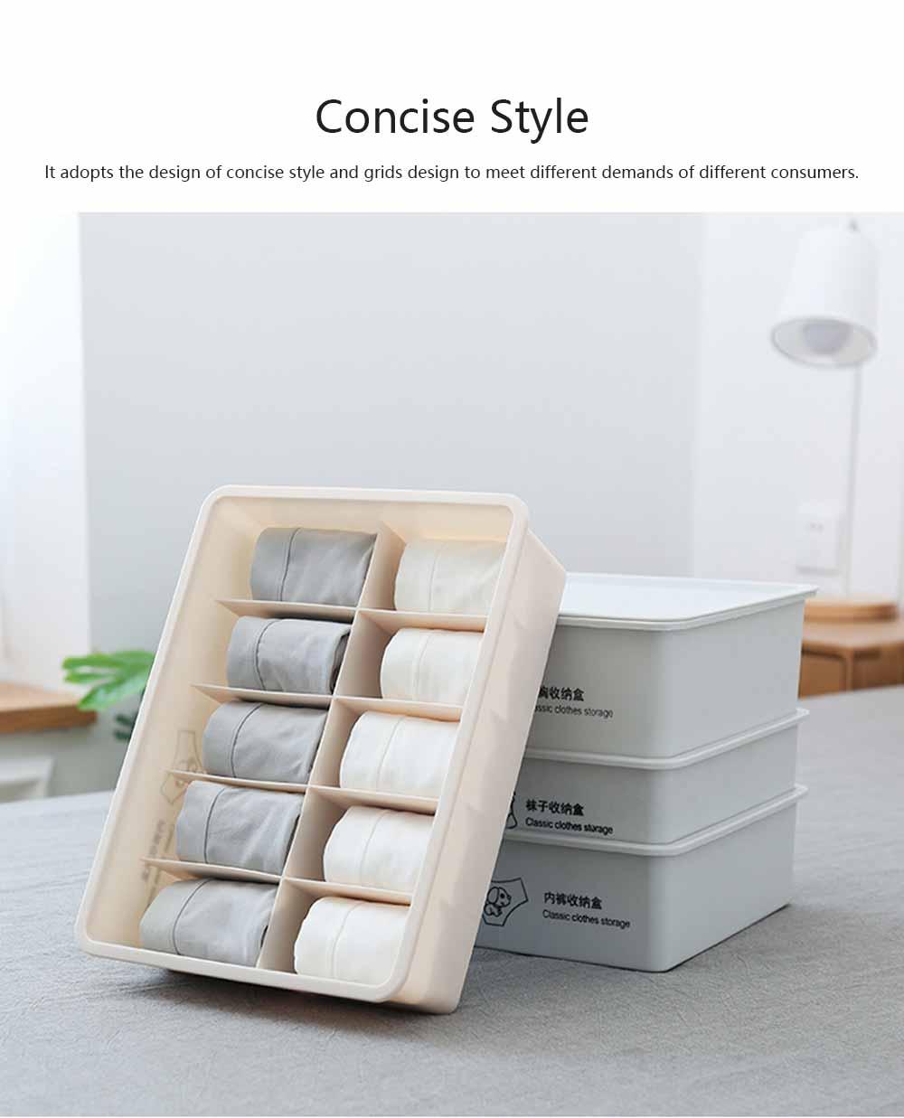 Compartmentalized Storage Boxes Higher Bottom Sunken Design Concise Style Underwear Bra and Socks Storage Cases 1