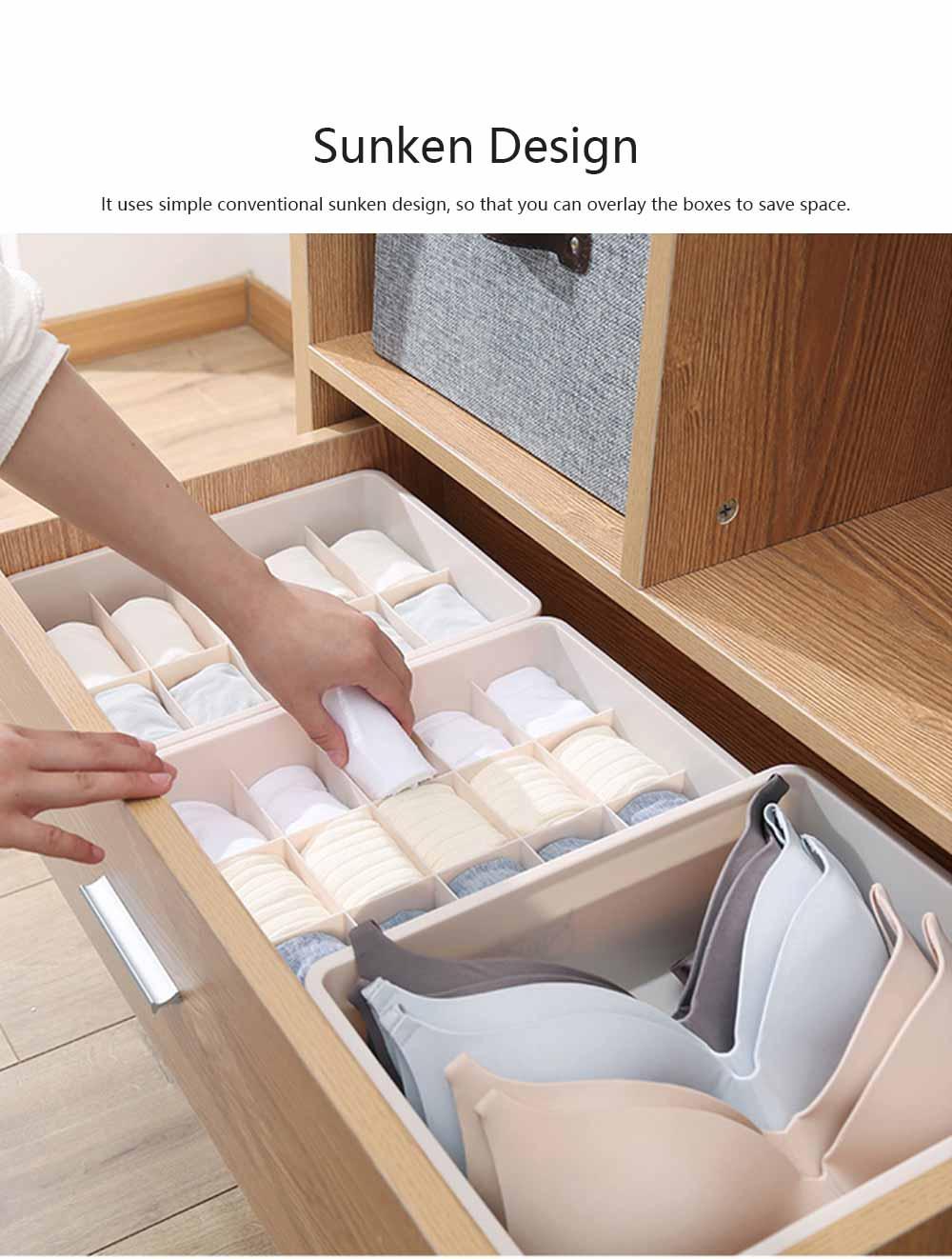 Compartmentalized Storage Boxes Higher Bottom Sunken Design Concise Style Underwear Bra and Socks Storage Cases 4