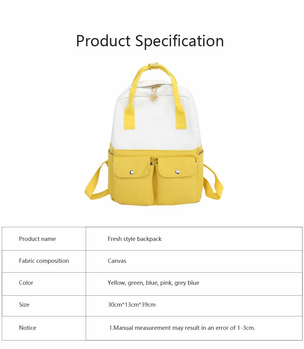 Fresh Style Backpack for Women and Girls with Handle and External Pockets Double Zipper Recreational Style Canvas Bag 6