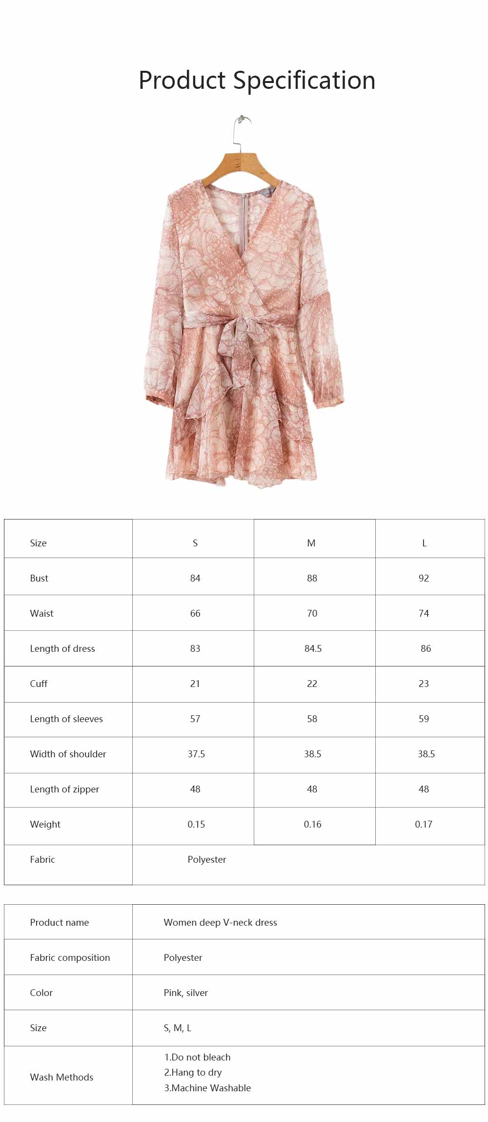 Women Deep V Neck Dress Printed Floral Long Sleeves Dress with Waist Strap for Lady 7