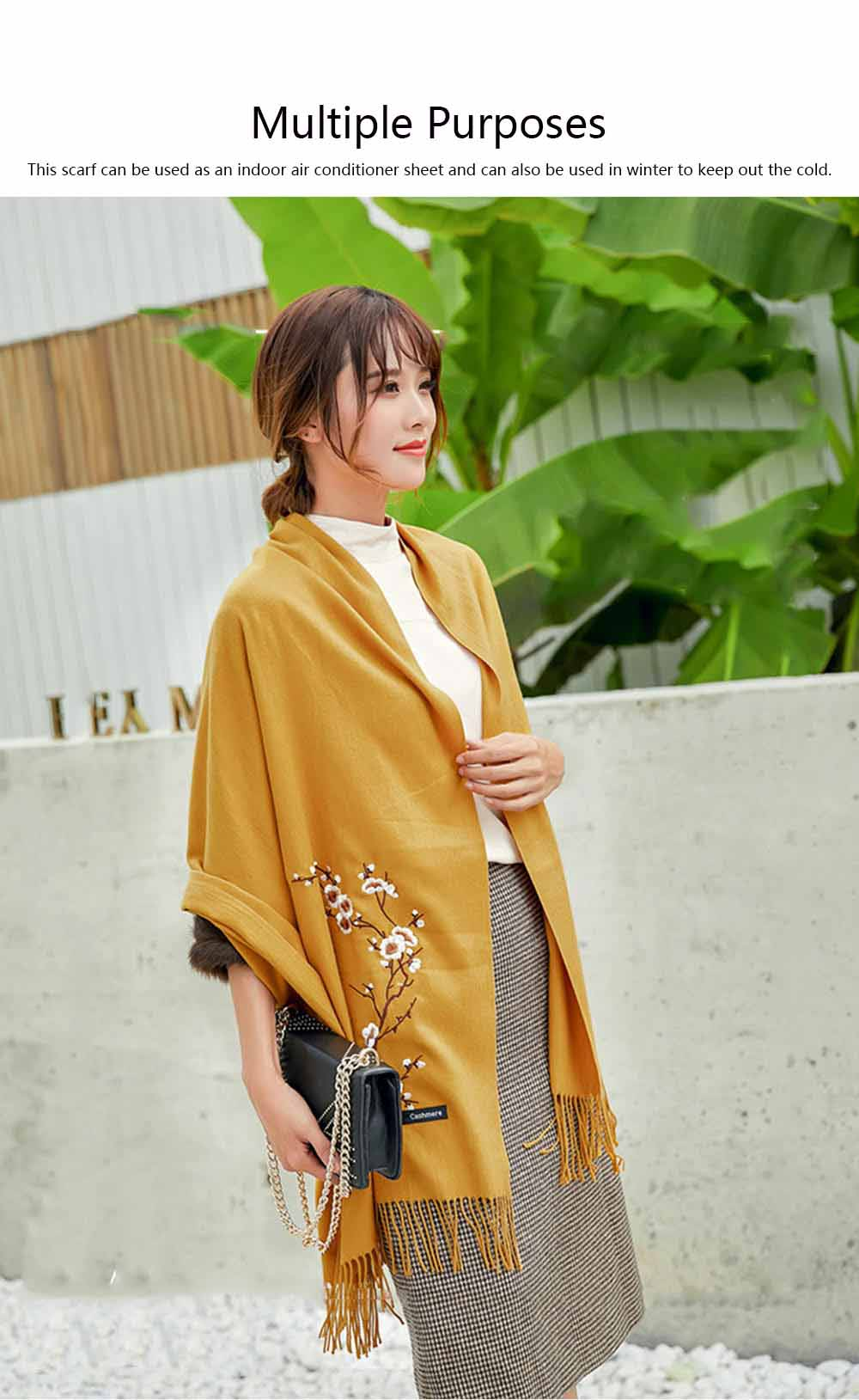Lady's Embroidered Shawl Lady's Embroidered Cashmere Scarf for Sun & Cold Protection 4