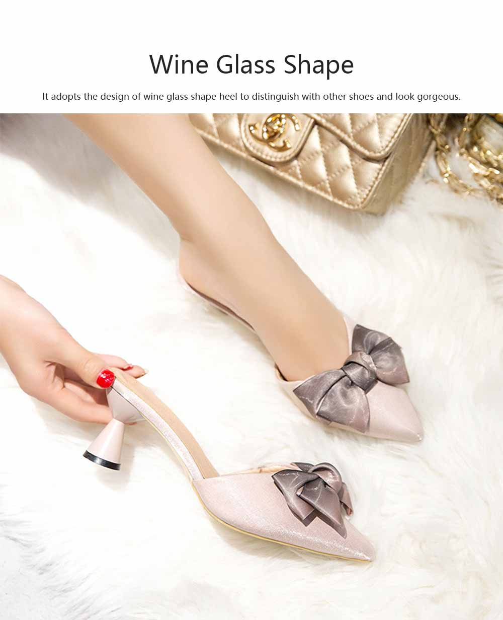 Bowknot High-heeled Sandals for Women Comfortable Breathable Non-slip Wear-resisting Wine Glass Shape High-heeled Slippers 1