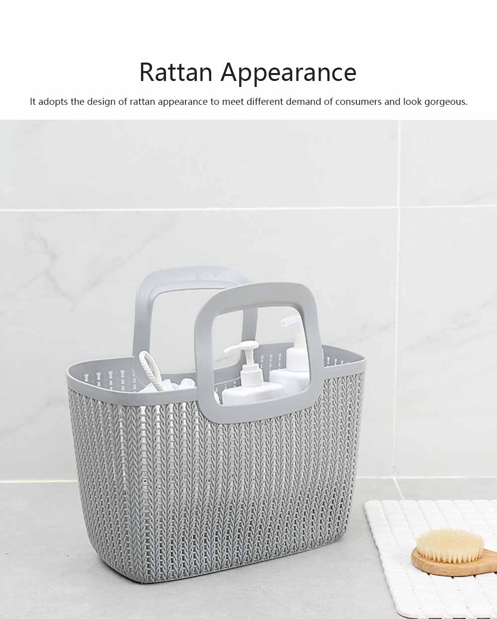 Rattan Appearance Hand Basket for Housewife Handle Design Multipurpose Higher Bottom Plastic Shopping Crate 1