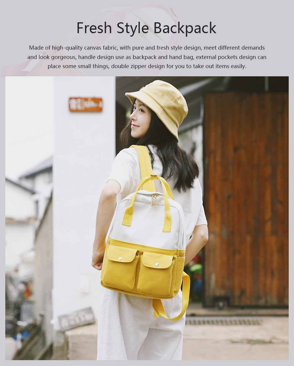 Fresh Style Backpack for Women and Girls with Handle and External Pockets Double Zipper Recreational Style Canvas Bag 0