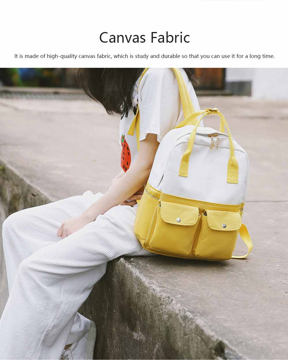 Fresh Style Backpack for Women and Girls with Handle and External Pockets Double Zipper Recreational Style Canvas Bag 5