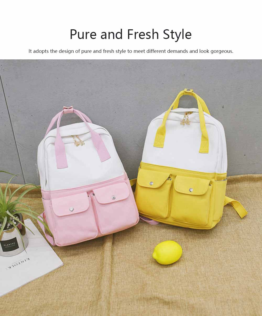 Fresh Style Backpack for Women and Girls with Handle and External Pockets Double Zipper Recreational Style Canvas Bag 1