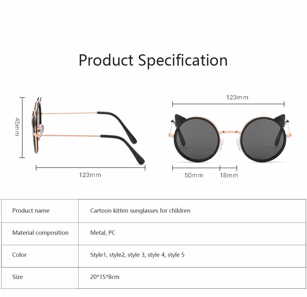 Cartoon Kitten Sunglasses for Children UV Protection Retro Sunglasses for Girls Boys 5