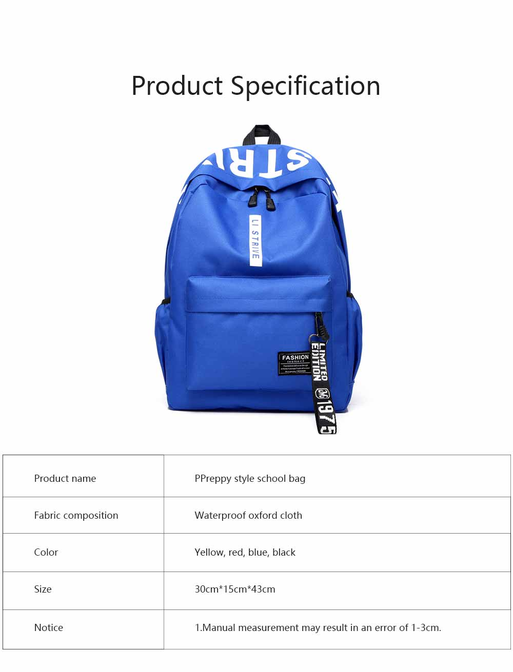 Preppy Style School Bag for Students Fashion Printing Smooth Zipper Adjustable Shoulder Strap Side Pockets Ribbon Backpack 7