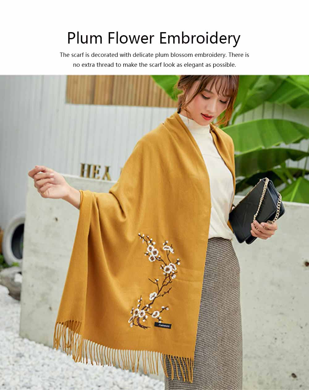 Lady's Embroidered Shawl Lady's Embroidered Cashmere Scarf for Sun & Cold Protection 2