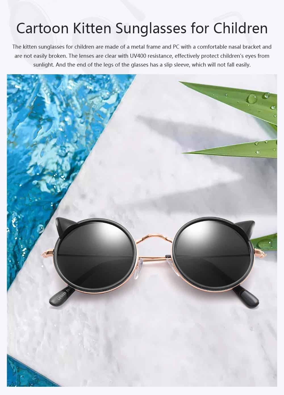 Cartoon Kitten Sunglasses for Children UV Protection Retro Sunglasses for Girls Boys 0