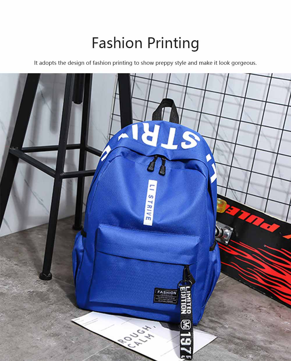 Preppy Style School Bag for Students Fashion Printing Smooth Zipper Adjustable Shoulder Strap Side Pockets Ribbon Backpack 1