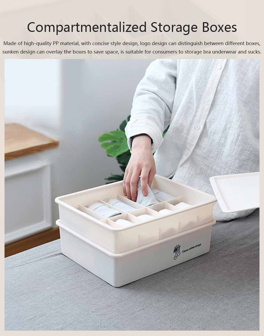 Compartmentalized Storage Boxes Higher Bottom Sunken Design Concise Style Underwear Bra and Socks Storage Cases 0