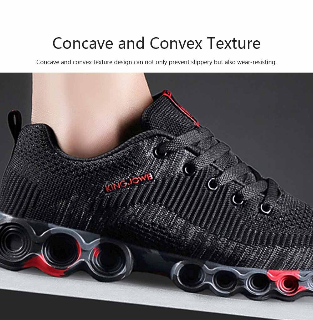 Fly-knit Sneakers for Men Concave Convex Texture Comfortable Lining Shock Absorption Rubber Sole Sports Shoes Spring and Summer 3