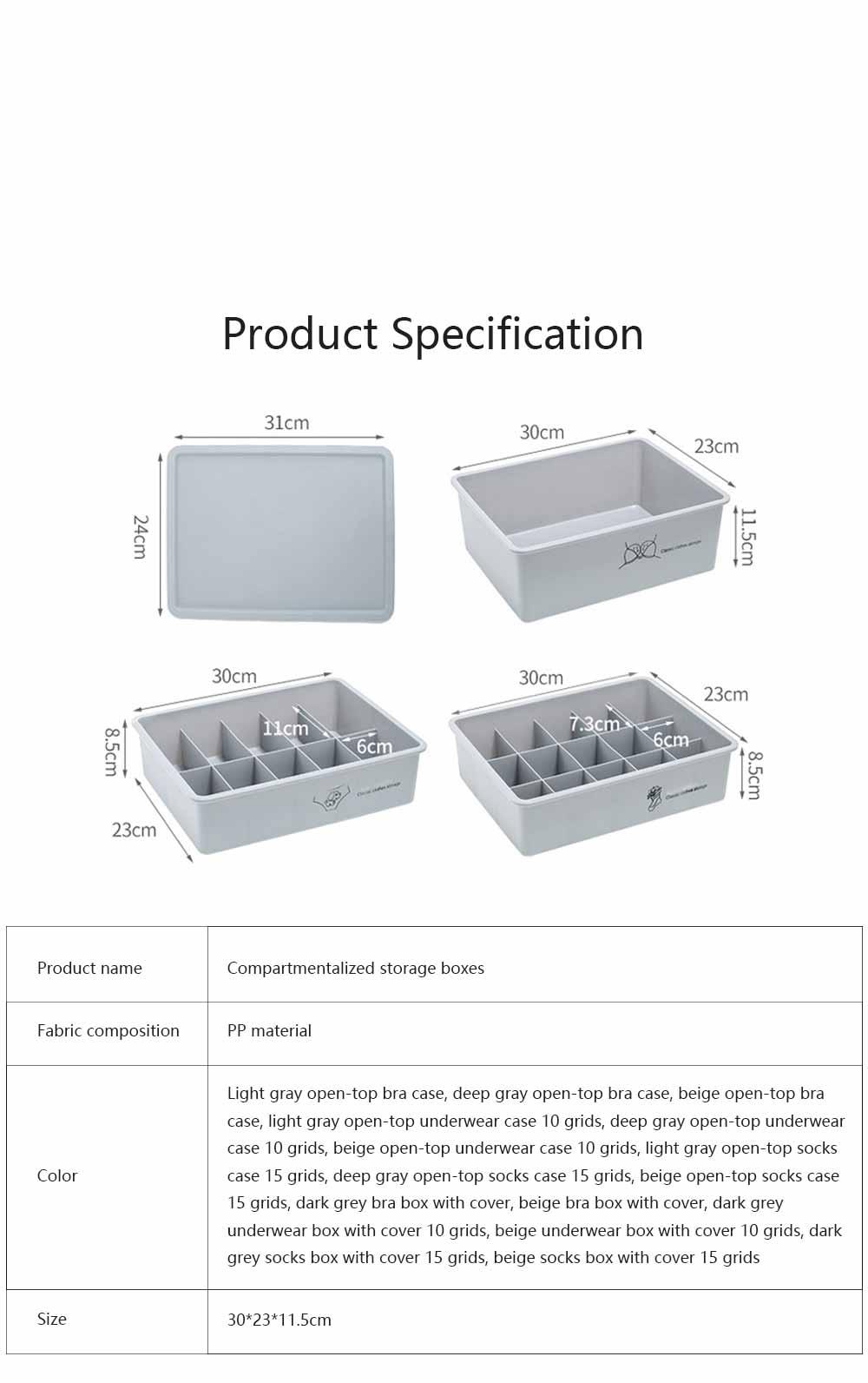 Compartmentalized Storage Boxes Higher Bottom Sunken Design Concise Style Underwear Bra and Socks Storage Cases 6